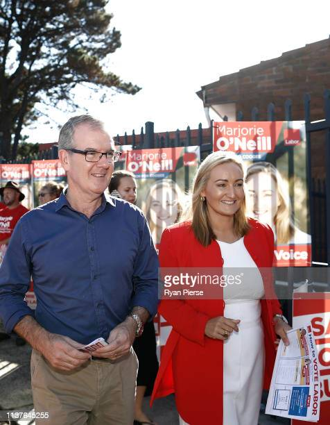 Labor Party Opposition leader Michael Daley and Marjorie O'Neill Labor's Candidate for Coogee speaks to voters at South Coogee Public School on March...