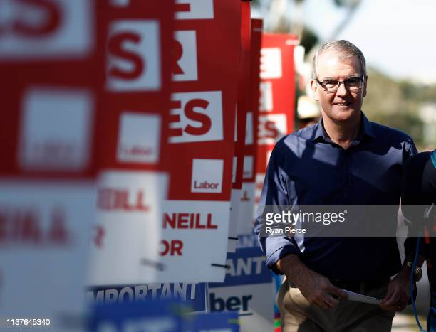 Labor Party Opposition leader Michael Daley arrives at South Coogee Public School on March 23 2019 in Sydney Australia The 2019 New South Wales state...