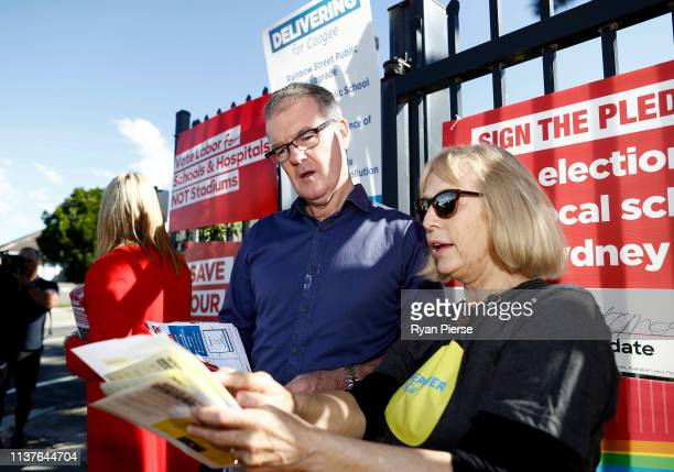 Labor Party Opposition leader Michael Daley speaks to voters at South Coogee Public School on March 23 2019 in Sydney Australia The 2019 New South...