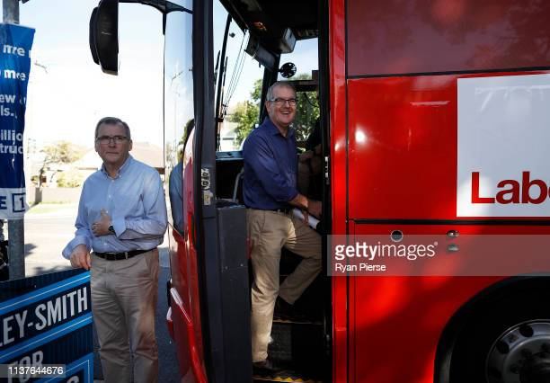Labor Party Opposition leader Michael Daley walks onto his campaign bus at South Coogee Public School on March 23 2019 in Sydney Australia The 2019...