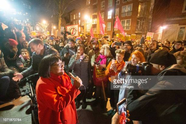 Labor Party politician Dianne Abbott seen addressing the crowd during the demonstration. Protestors gathered outside the Home Office in London to...
