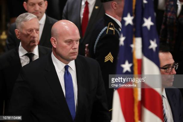 Labor Secretary Alex Acosta Defense Secretary James Mattis acting US Attorney General Matthew Whitaker and Treasury Secretary Steven Mnuchin pay...