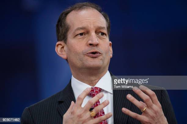 Labor Secretary Alex Acosta is interviewed during the Conservative Political Action Conference at the Gaylord National Resort in Oxon Hill Md on...