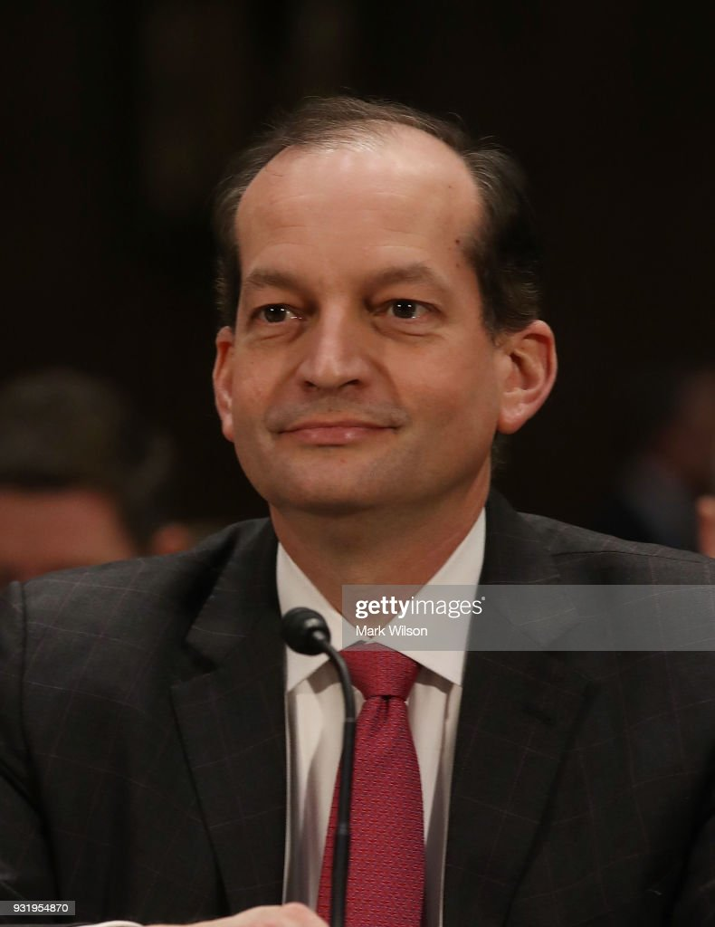 Labor Secretary Alexander Acosta appears before the Senate Commerce, Science and Transportation Committee, on March 14, 2018 in Washington, DC. The committee is hearing testimony on President Donald Trump's plan to rebuld the nations infrastructure.