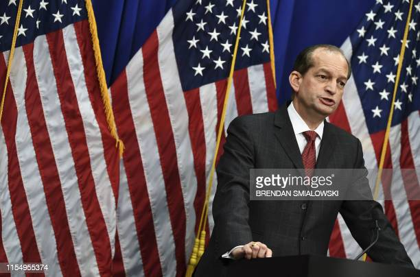 Labor Secretary Alexander Acosta holds a press conference at the US Department of Labor on July 10 2019 in WashingtonDC Democratic Party leaders...