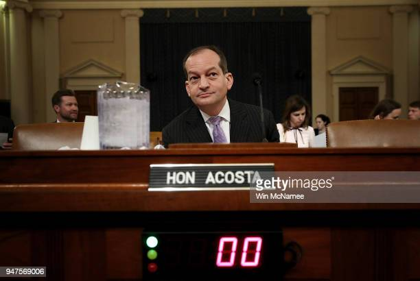 S Labor Secretary Alexander Acosta prepares to testify before the House Ways and Means Committee April 17 2018 in Washington DC Acosta testified on...