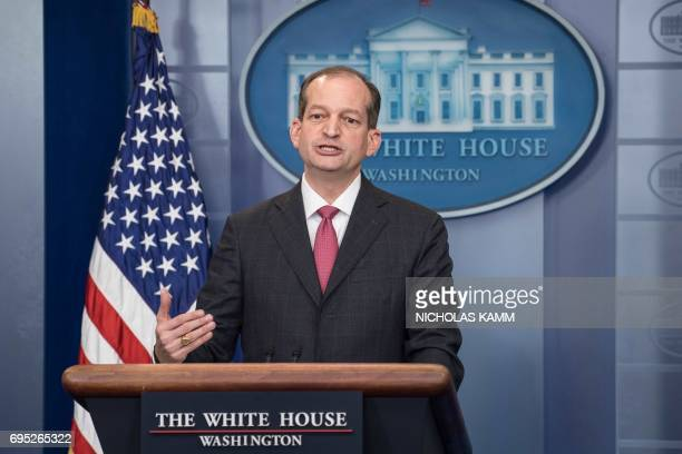 US Labor Secretary Alexander Acosta speaks during the briefing at the White House in Washington DC on June 12 2017 / AFP PHOTO / NICHOLAS KAMM
