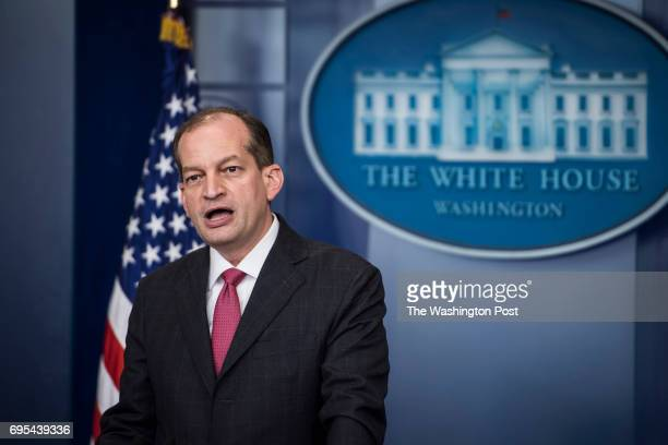 Labor Secretary Alexander Acosta talks to reporters during the daily briefing at the White House in Washington DC on Monday June 12 2017