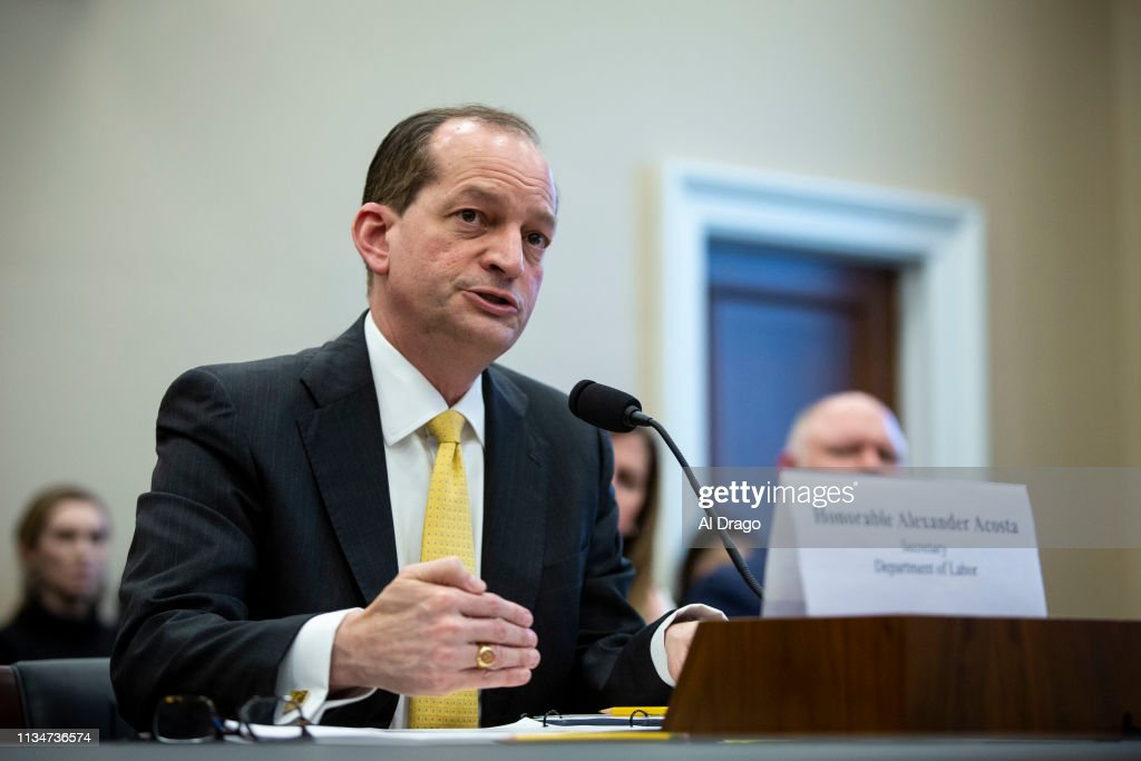 Labor Secretary Alexander Acosta Appears At House Appropriations Committee Hearing On Budget : News Photo