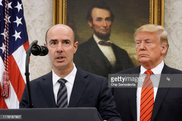 S Labor Secretary Eugene Scalia delivers remarks before his ceremonial swearing in with President Donald Trump in the Oval Office at the White House...