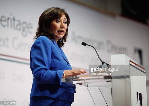S Labor Secretary Hilda Solis addresses the opening session of the Congressional Hispanic Caucus Institute's Public Policy Conference at the Ronald...