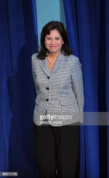 Labor Secretary Hilda Solis makes her way to the stage during a town hall meeting by US President Barack Obama March 19, 2009 at the Miguel Contreras...