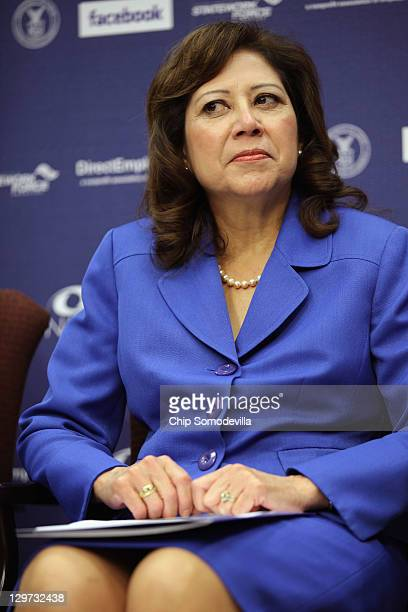 S Labor Secretary Hilda Solis participates during a news conference to announce a partnership between Facebook the National Association of Colleges...