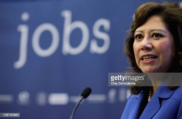 S Labor Secretary Hilda Solis speaks during a news conference to announce a partnership between Facebook the National Association of Colleges and...