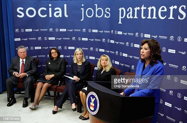 S Labor Secretary Hilda Solis speaks during a news conference with DirectEmployers Association Executive Director Bill Warren National Association of...