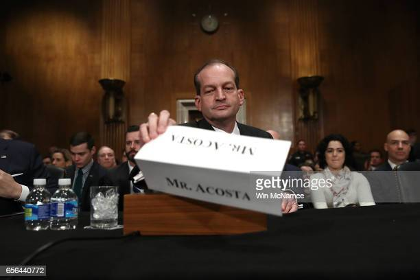 Labor Secretary nominee Alexander Acosta arrives for testiony before the Senate Health Education Labor and Pensions Committee during his confirmation...