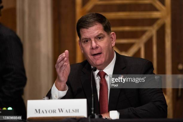 Labor secretary nominee Marty Walsh testifies at his confirmation hearing before the Senate Health, Education, Labor, and Pensions Committee in the...