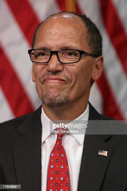 Labor Secretary Thomas Perez attends his ceremonial swearingin at the Department of Labor September 4 2013 in Washington DC Perez was officially...