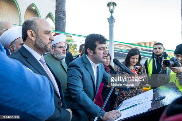 Labor Senator Sam Dastyari speaks after prayers Worshipers flock to the Lakemba Mosque in suburban Sydney Australia Crowds spill into the street and...
