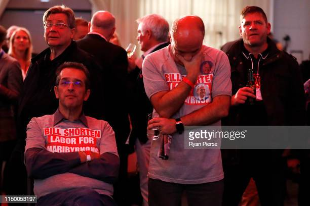 Labor supporters watch the television broadcast at the Hyatt Place Melbourne ahead of the Australian Federal Election announcement on May 18 2019 in...
