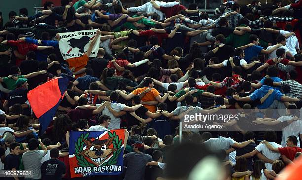 Laboral Kutxa fans are seen during the Euroleague Basketball Top 16 Date 1 game between Laboral Kutxa and Anadolu Efes at Fernando Buesa Arena in...