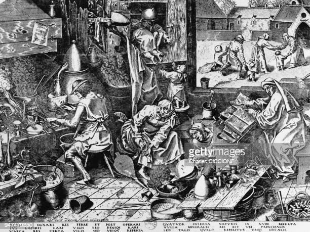 Laboratoire d'alchimie au Moyen Age