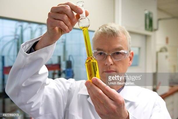 Laboratory assistent of the oil mill C Thywissen in Neuss in the control of precusor from rapeseed oil for later processing into biofuel on May 15...