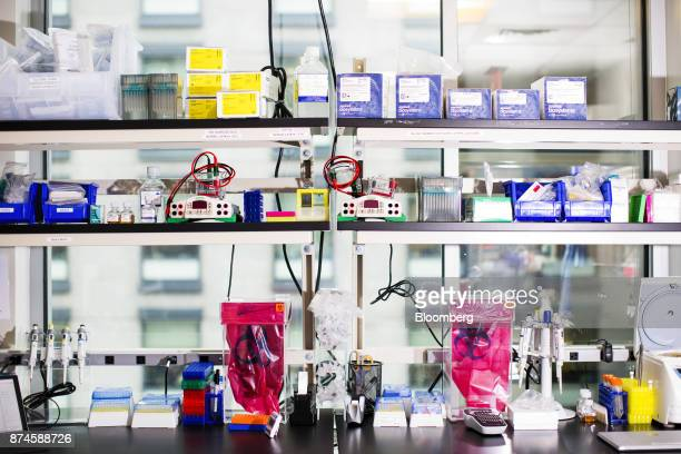 Laboratory equipment sits on shelves at the Moderna Therapeutics Inc facility in Cambridge Massachusetts US on Tuesday Nov 14 2017 Moderna this week...
