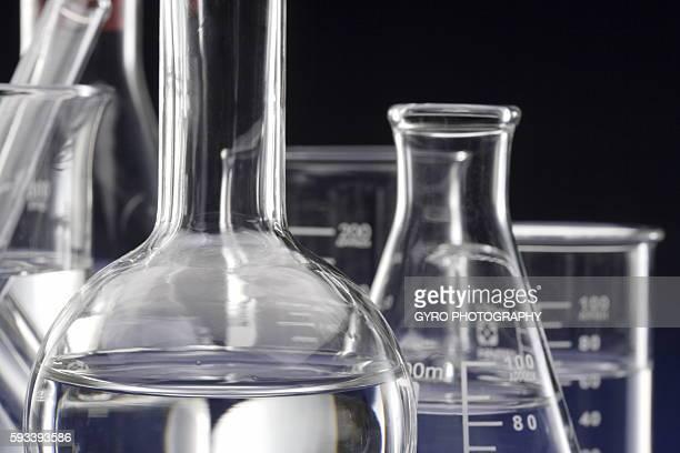 Laboratory equipments, blue background