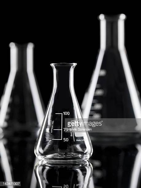 3 laboratory flasks in the lab