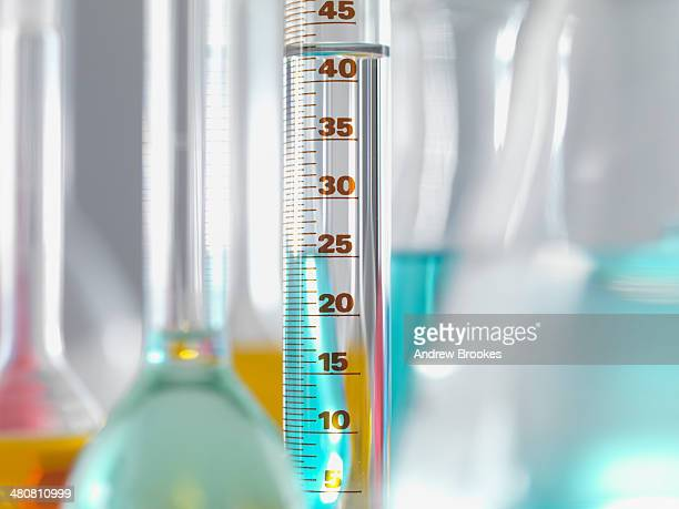 Laboratory glassware in lab, Measuring flasks and cylinders containing chemicals during experiment
