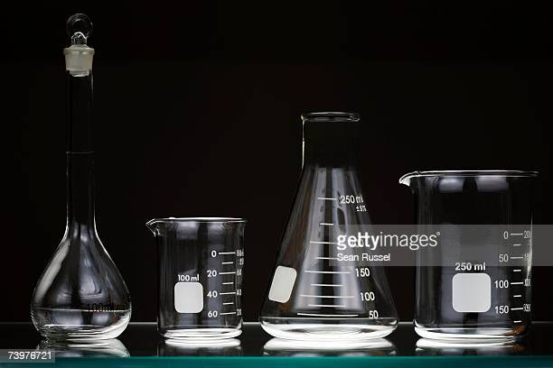 Laboratory glassware on a shelf