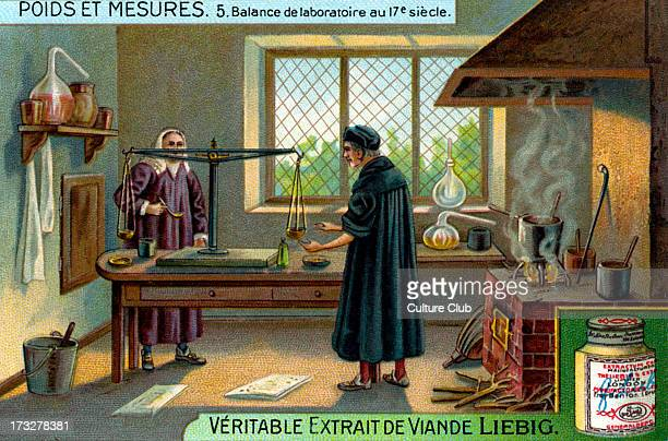 Laboratory scales in the 17th century Illustration from Liebig collectible card series 'Weights and Measures' 5 of 6