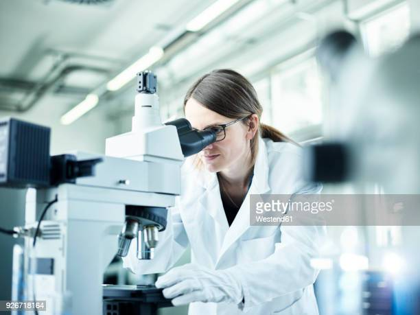 laboratory technician looking through microscope in lab - laborkittel stock-fotos und bilder