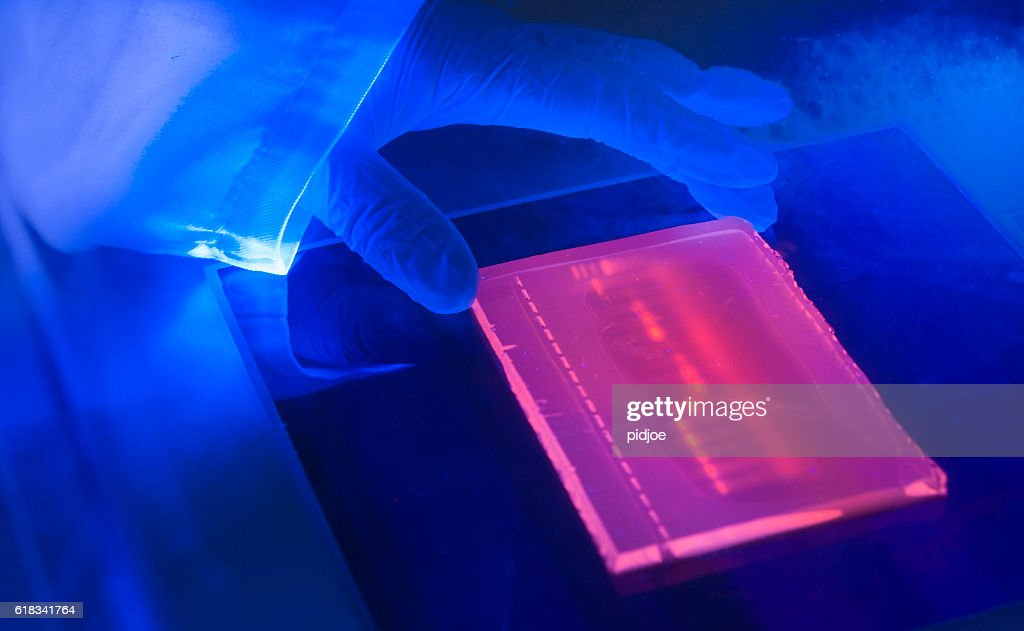 laboratory ultraviolet light box during  electrophoresis for detection of DNA : Stock Photo