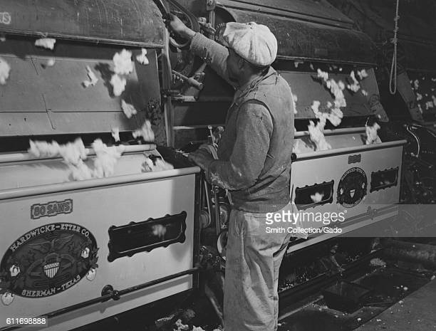A laborer removes seeds from a cotton gin on the Hopson Plantation in Clarksdale Mississippi November 1939