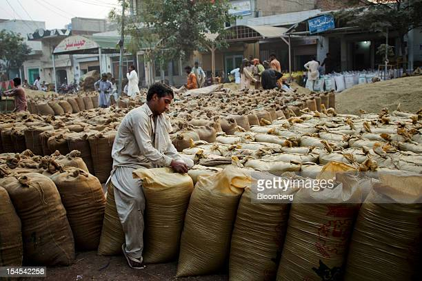 A laborer seals a bag of rice at a rice market in the Chiniot district of Punjab province Pakistan on Saturday Oct 13 2012 Rice exports from Pakistan...