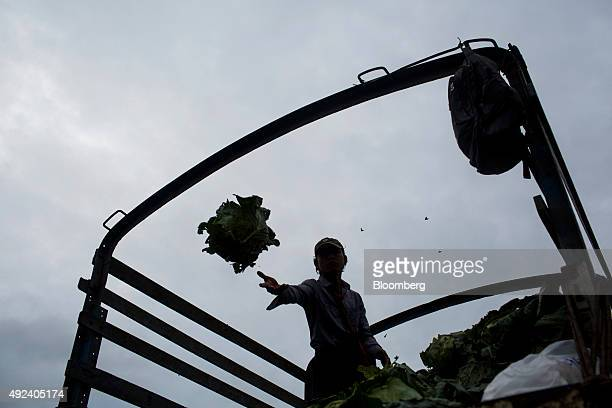 A laborer tosses a cabbage off a truck at the Thiri Mingala market in Yangon Myanmar on Monday Oct 12 2015 Myanmar's annual growth has averaged more...