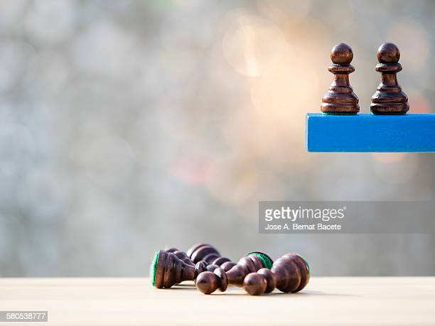 laborers of chess that they fall to the emptiness - leap of faith stock photos and pictures