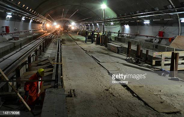 Laborers work on a new section of Line A for the Metropolitan Subway in Buenos Aires Argentina on Thursday April 19 2012 Argentina's industrial...