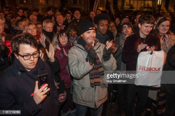 Labour and Momentum activists listen to speeches by Owen Jones and Emma Dent Coad at a mass canvass of the Kensington and Chelsea constituency...
