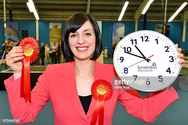 Labour candidate Bridget Phillipson celebrates after securing victory in the Houghton and Sunderland South constituency on May 7, 2015 in Sunderland,...