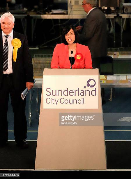 Labour candidate Bridget Phillipson gives a speech to party supporters after securing victory in the Houghton and Sunderland South constituency on...