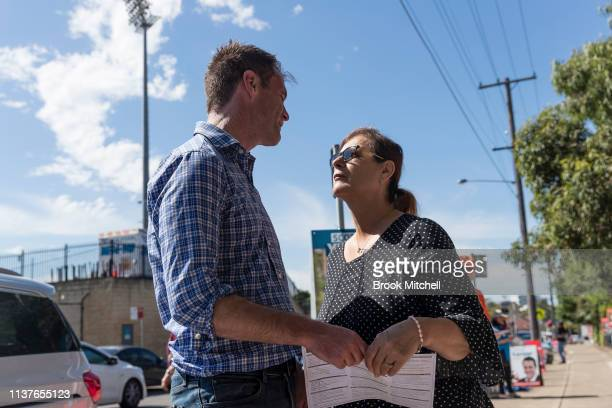 Labour candidate Chris Minns meets a voter at Carlton South Public School on March 23 2019 in Sydney Australia The 2019 New South Wales state...