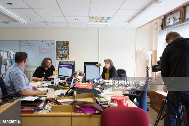 Labour candidate Jess Phillips being filmed by BBC News Night team in her office on May 12 2017 in Yardley Birmingham England Political parties and...