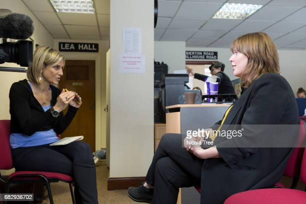 Labour candidate Jess Phillips being interviewed by BBC journalist Emily Maitlis for News Night in her office on May 12 2017 in Yardley Birmingham...