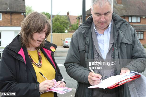 Labour candidate Jess Phillips door knocking and leafleting in her campaigning in her constituency with her team on May 12 2017 in Birmingham England...