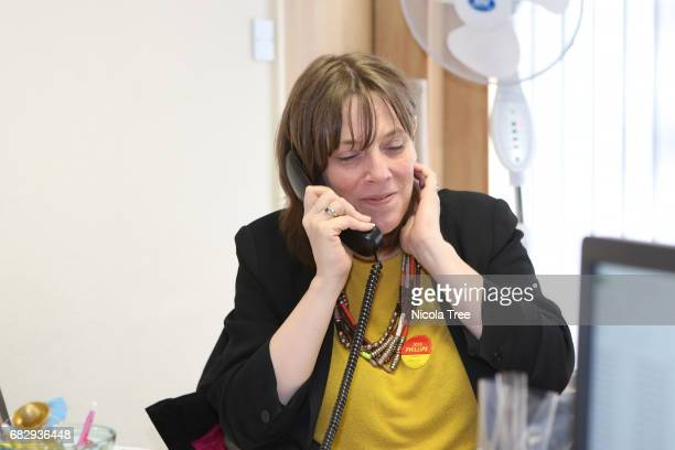 Labour candidate Jess Phillips working on her campaign with her team in the office on May 12 2017 in Yardley Birmingham England Political parties and...