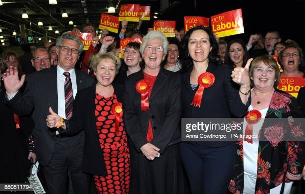 Labour candidate Ros Jones celebrates with MPs Rosie Winterton and Caroline Flint after she was voted Mayor of Doncaster after the counting of votes...