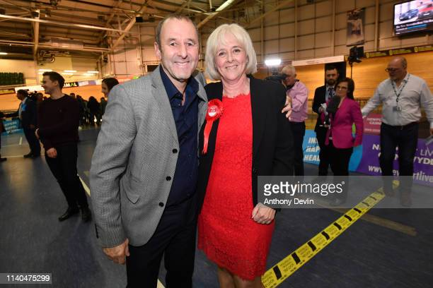 Labour candidate Ruth Jones is congratulated by husband David Jones at the Geraint Thomas National Velodrome of Wales following her victory in the...